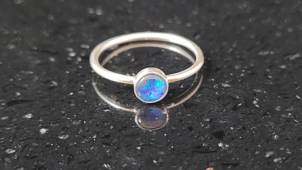 Australian Opal Sterling Silver Ring Stacker Ring
