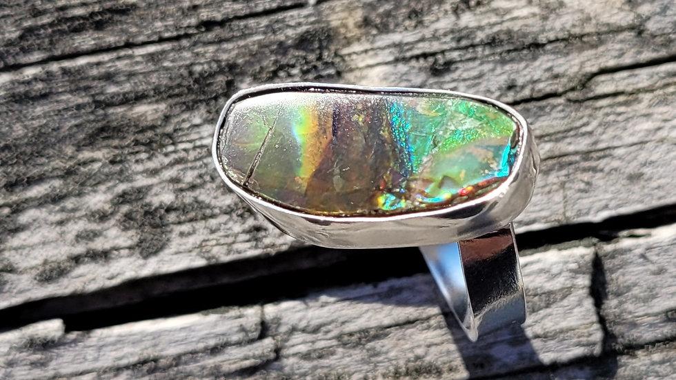 Ammolite Sterling Silver Ring