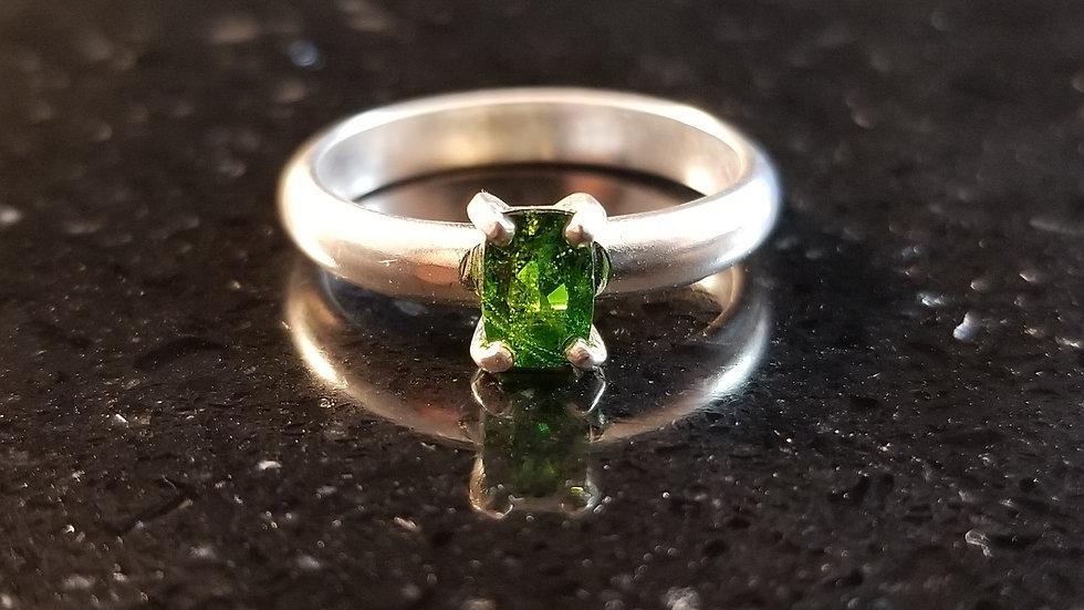 Tourmaline Genuine Green Tourmaline Sterling Silver Stacker Ring