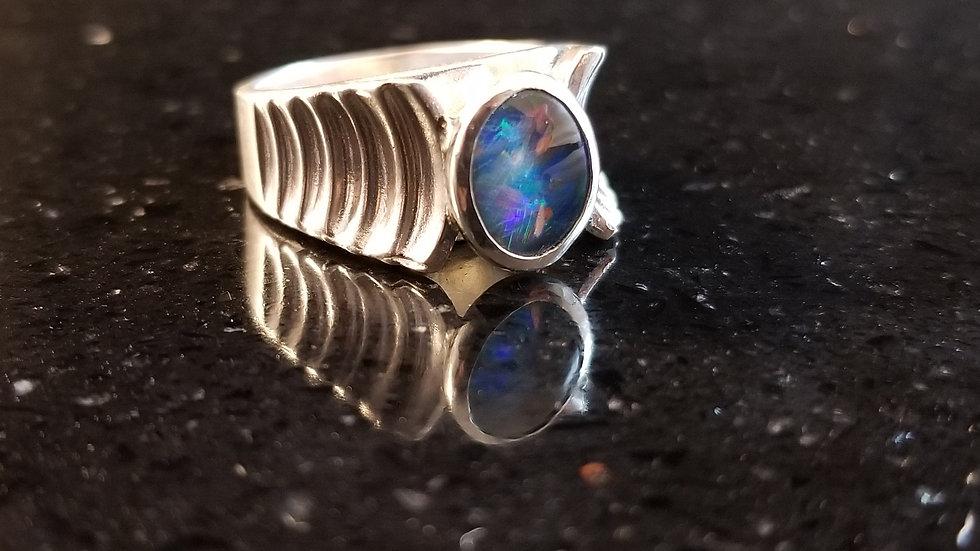 Opal Triplet Genuine Australian Opal Sterling Silver Ring
