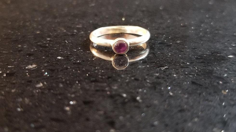 Amethyst Genuine Gemstone Sterling Silver February Birthstone Stacker Ring