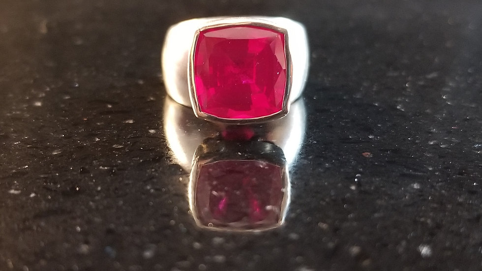 Ruby Created Recycled Red Gemstone Sterling Silver Ring July Birthstone