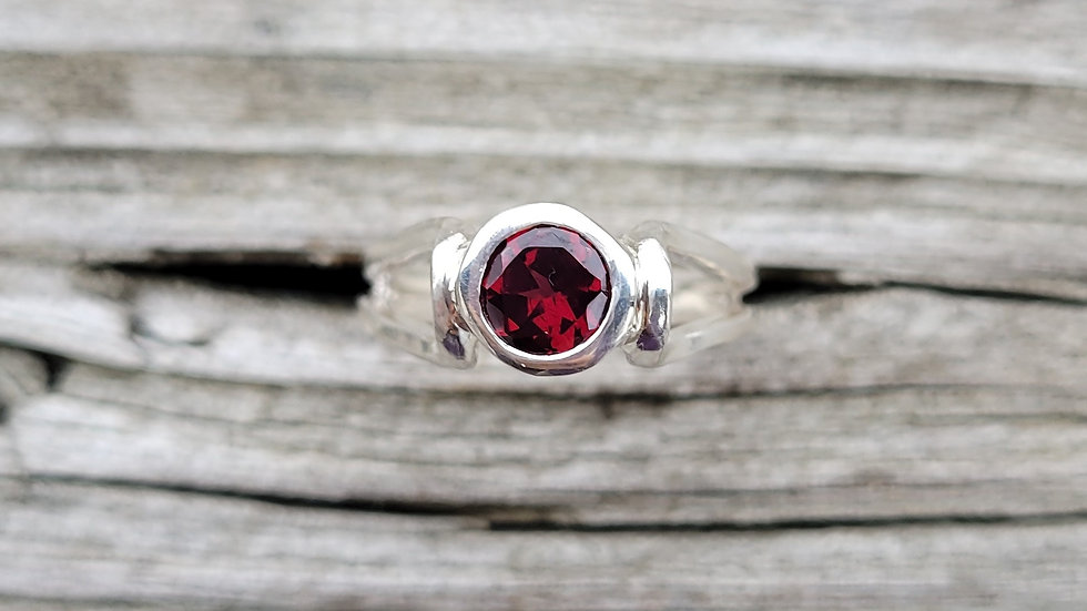 Garnet Sterling Silver Ring January Birthstone