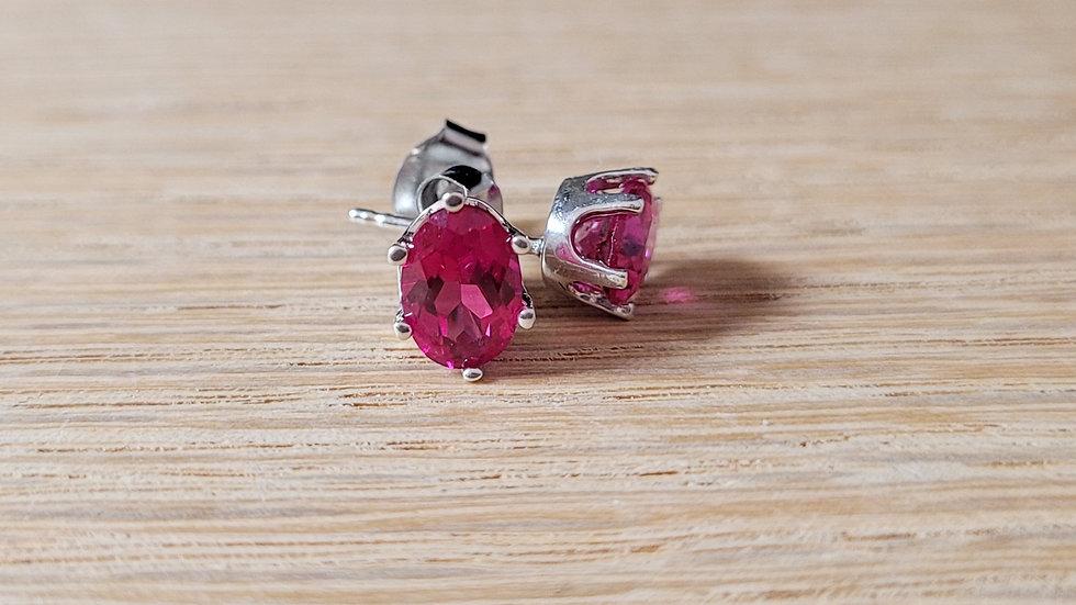 Sterling Silver Created Ruby Stud Earrings