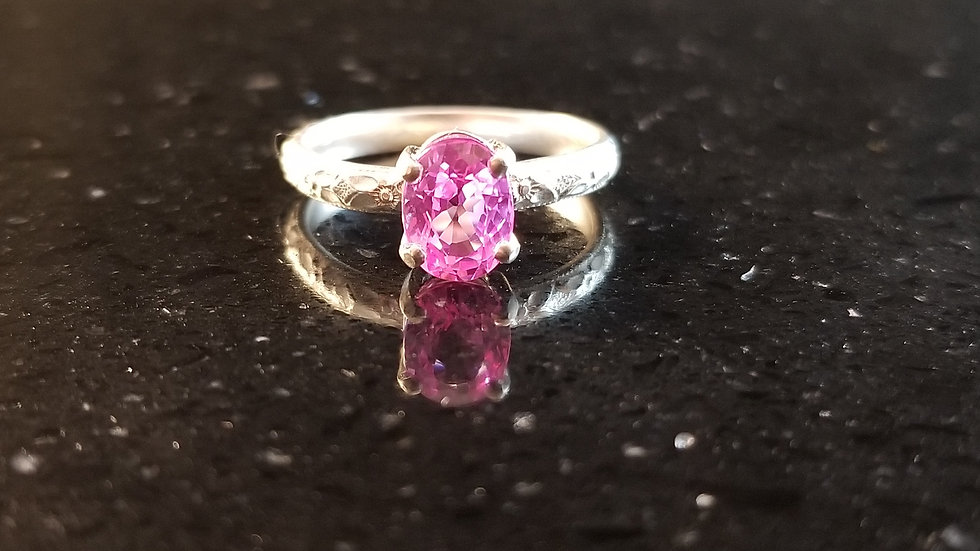 Pink Sapphire Lab Created Gemstone Sterling Silver Ring September Birthstone
