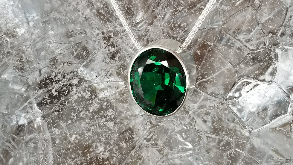 Emerald Upcycled Created Green Gemstone Sterling Silver Pendant May Birthstone