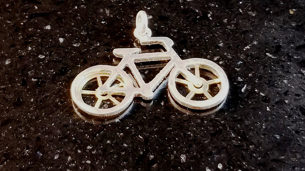 Bicycle Steampunk Upcycled Genuine Pocket Watch Gears Sterling Silver Charm