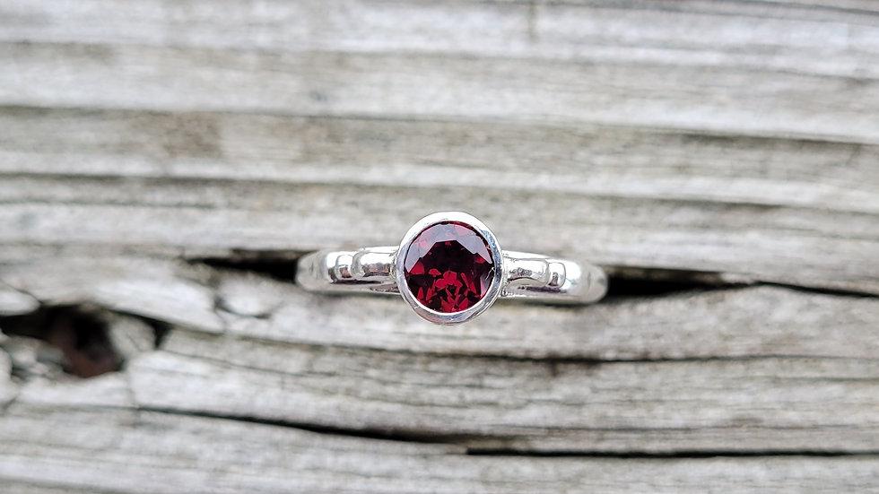 Garnet Sterling Silver Ring January Birthstone