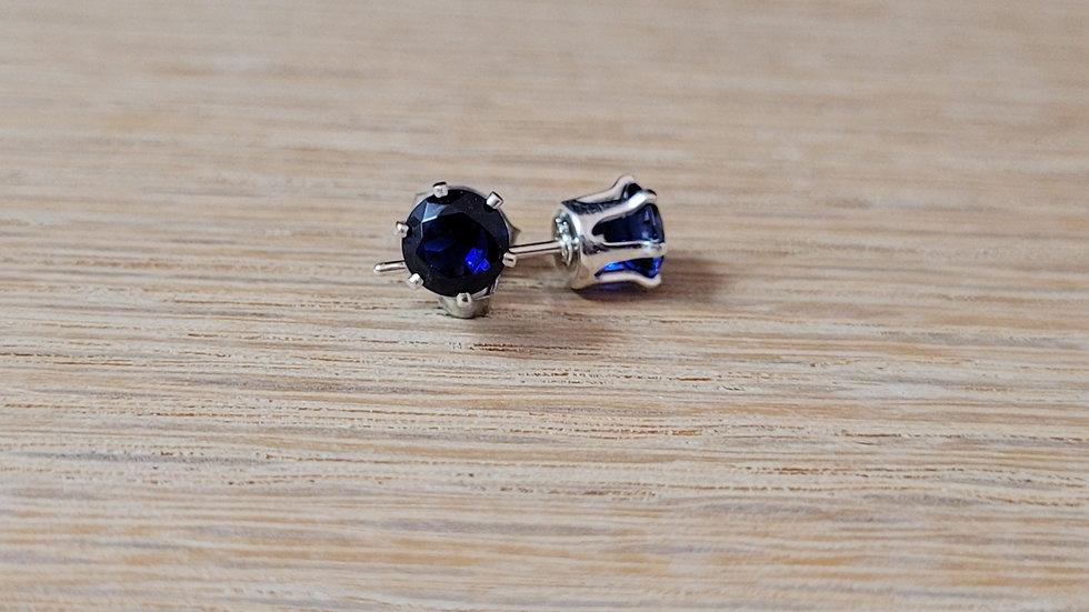 Sterling Silver Created Sapphire Stud Earrings