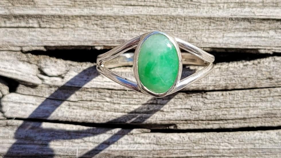 Green Jade Sterling Silver Ring