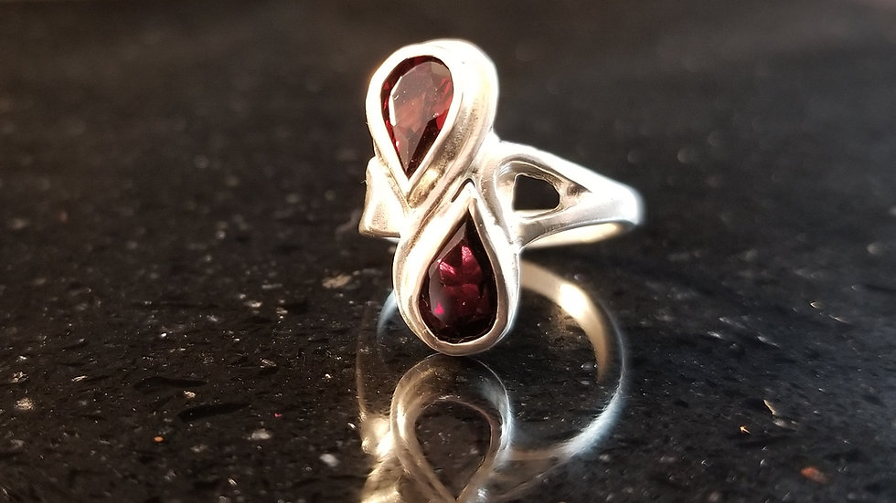 Garnet Genuine Gemstone Sterling Silver Ring January Birthstone