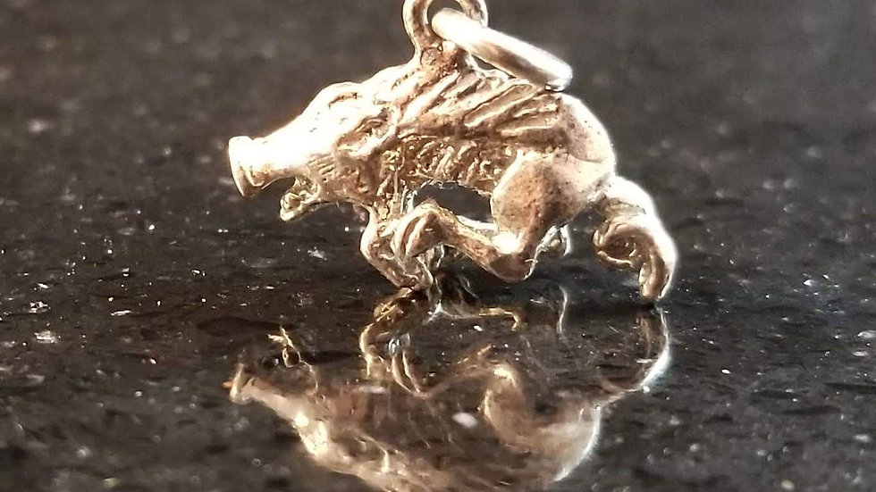 Razorback Silver Plated Copper Razorback Pig Hog Charm
