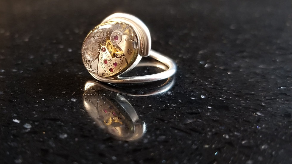 Steampunk Elgin Watch Movement Sterling Silver Ring