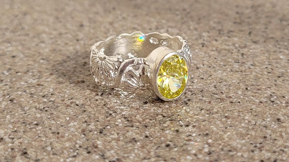 Yellow Cubic Zirconia Ring