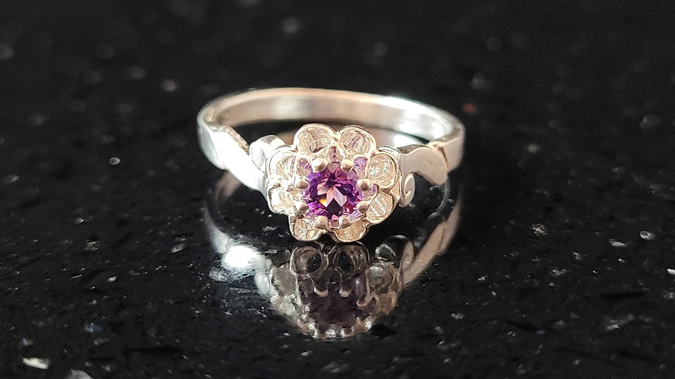 Amethyst Sterling Silver Ring February Birthstone Ring