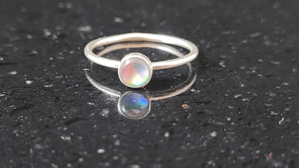 Opal Sterling Silver Ring Stacker Ring