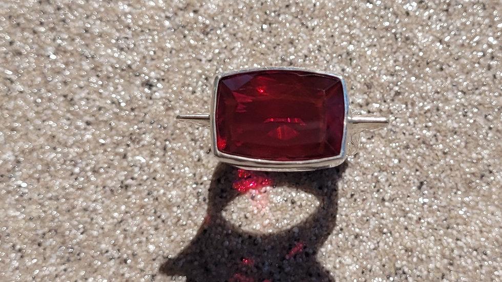 Red Quartz Sterling Silver Ring
