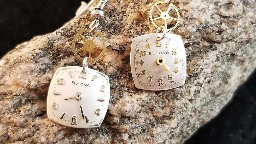 Bulova Watch Dial Earrings