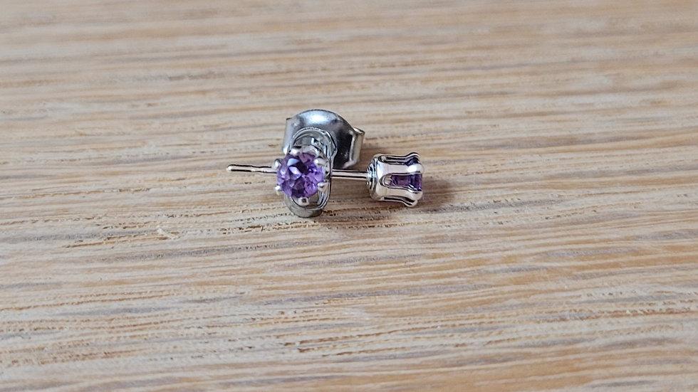Sterling Silver Tiny Genuine Amethyst Stud Earrings