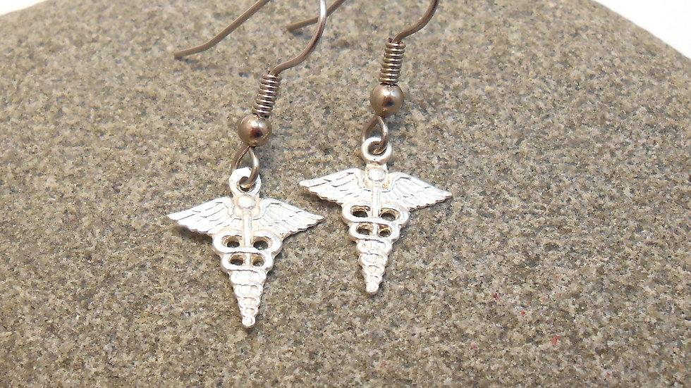 Caduceus Staff Sterling Silver Earrings
