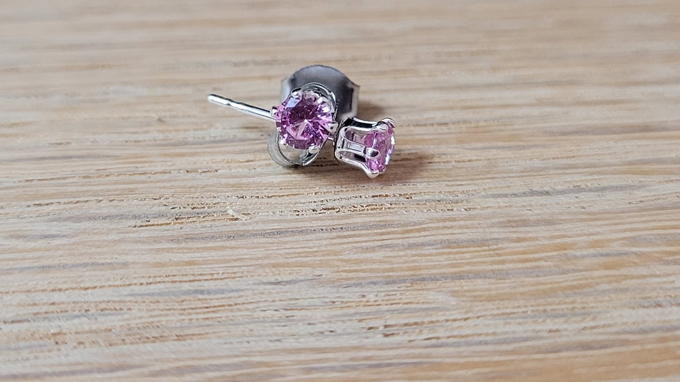 Sterling Silver Synthetic Tiny Pink Topaz Stud Earrings