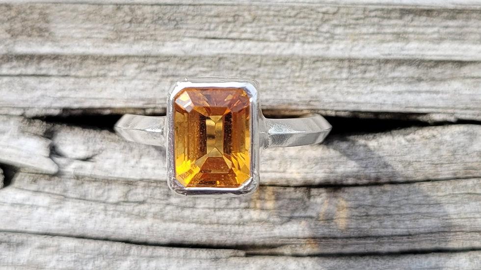 Citrine Emerald Cut Genuine Sterling Silver Ring