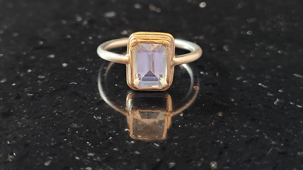 Aquamarine 14K Gold and Sterling Silver Ring