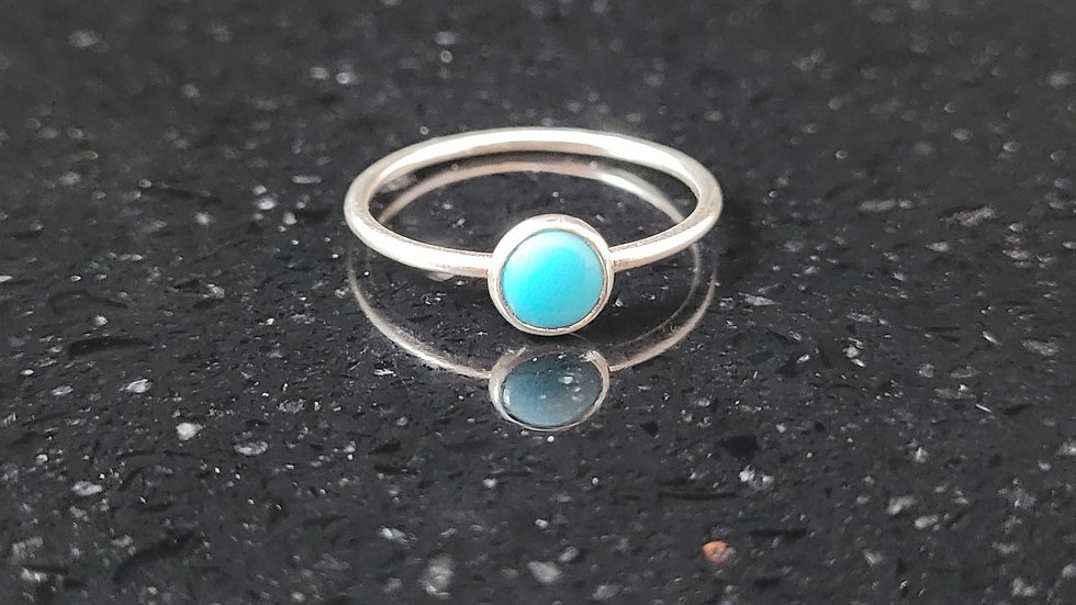 Turquoise Sterling Silver Ring Stacker Ring