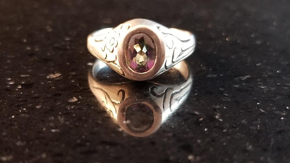 Mystic Topaz Sterling Silver Ring Peacock Topaz