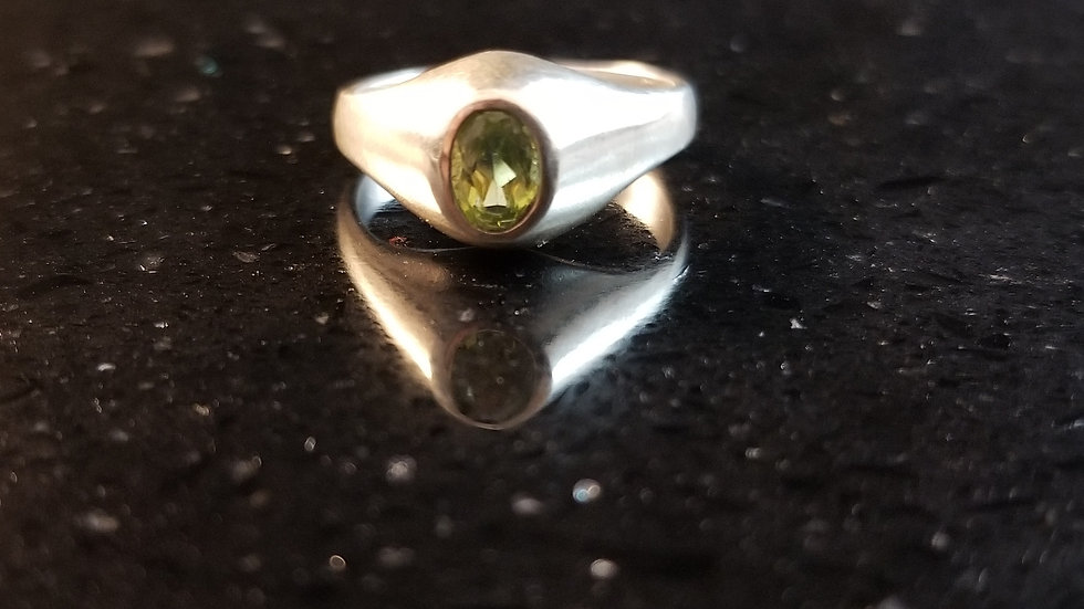 Peridot Sterling Silver Genuine Gemstone Ring August Birthstone