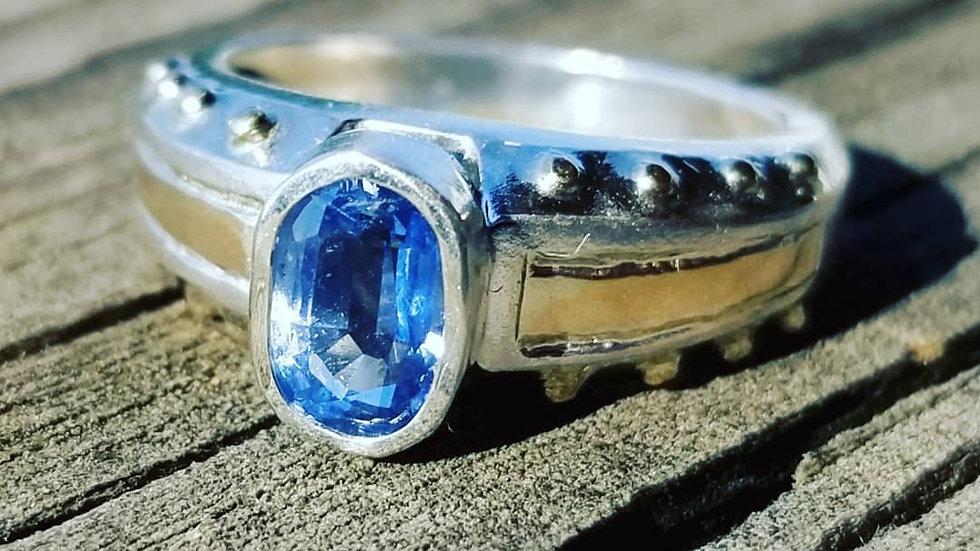 Kyanite Genuine Sterling Silver 14K Gold Ring