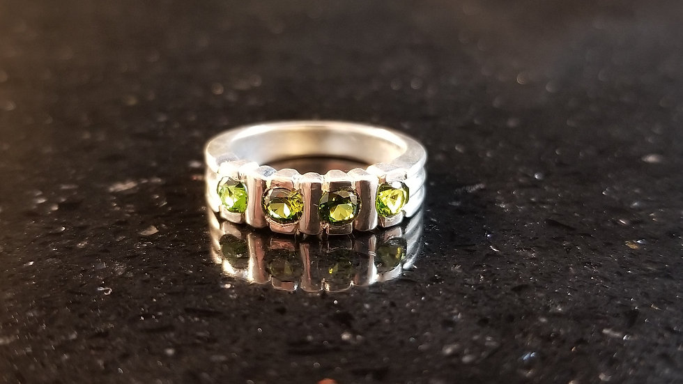 Peridot Recycled Sterling Silver Synthetic Gemstone Ring August Birthstone