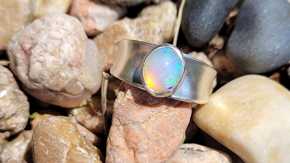 Natural Opal Sterling Silver Ring