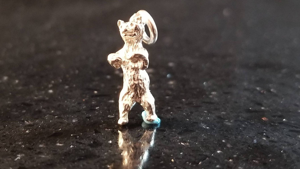Bear Silver Plated Copper Bear Woods Forest Grizzly Black Bear Charm
