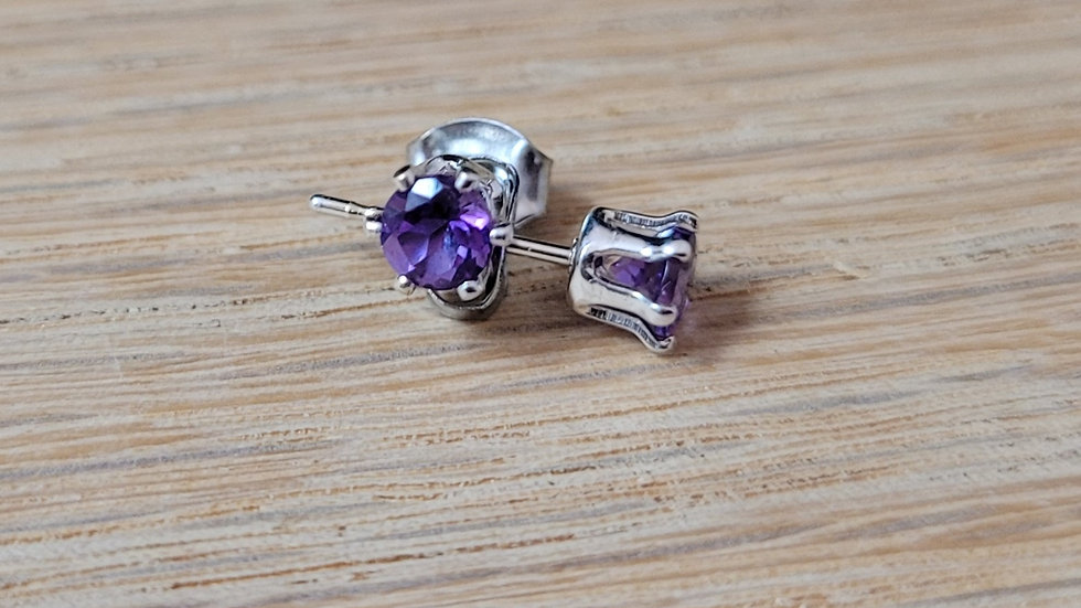 Sterling Silver Genuine Amethyst Stud Earrings