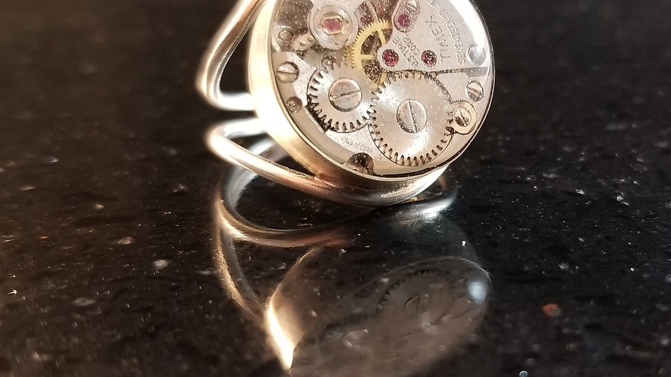 Steampunk Upcycled Genuine Watch Movement Parts Sterling Silver Ring
