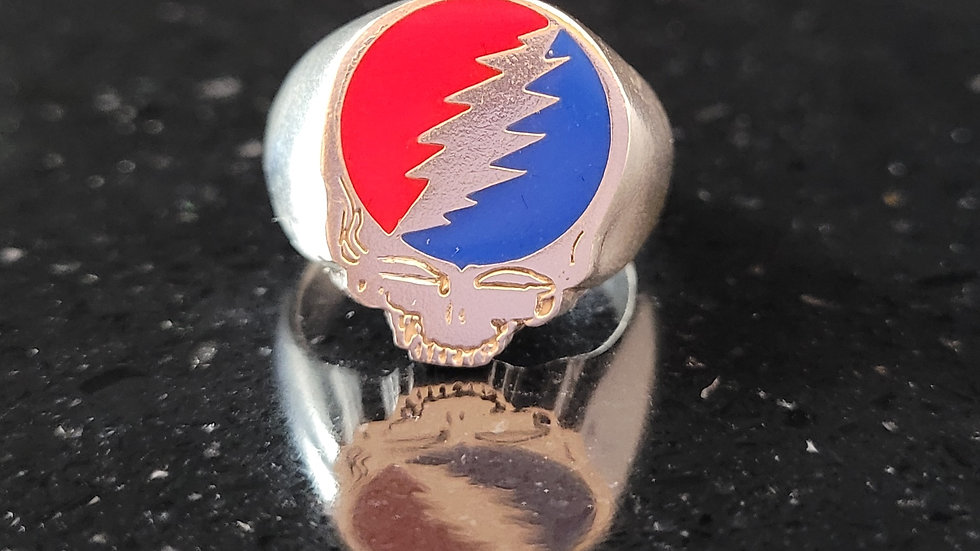 Stealie Grateful Dead Steal Your Face Sterling Silver Ring