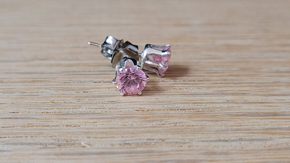Sterling Silver Synthetic Pink Topaz Stud Earrings