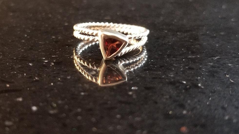 Garnet Genuine Trillion Gemstone Sterling Silver Ring January Birthstone