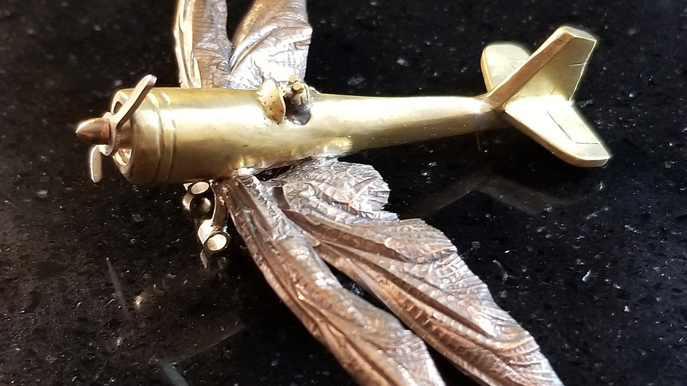 Dragonfly Wing Airplane Brass Copper Sterling Silver Sculpture