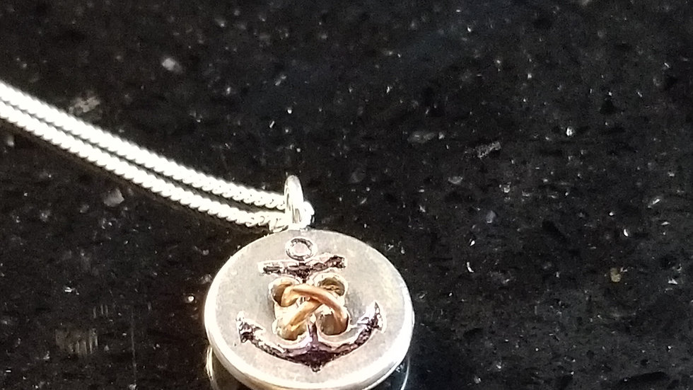Button Navy United States Navy Anchor Sterling Silver Copper Pendant