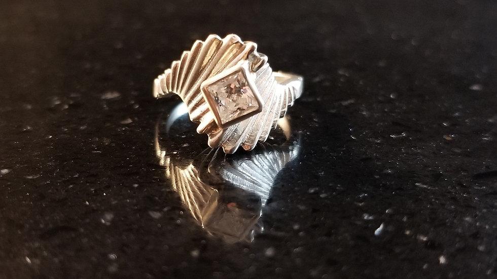 Cubic Zirconia Princess Cut Zirconia Gemstone Sterling Silver Ring