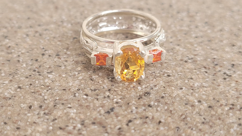 Citrine Orange Sapphire Ring
