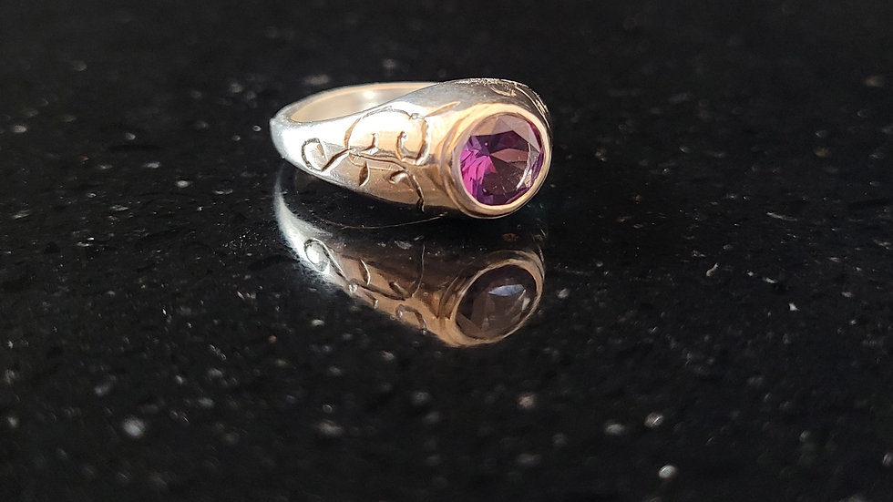 Alexandrite Upcycled Created Gemstone Sterling Silver Ring
