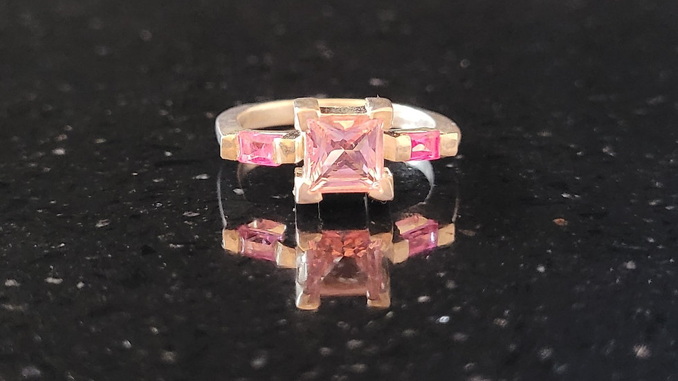 Pink Exotic Topaz Sterling Silver Ring