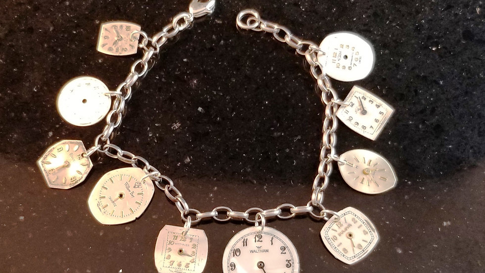 Watch Dial Charm Bracelet Steampunk Recycled