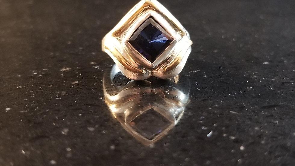 Sapphire Created Blue Sapphire Gem Sterling Silver Ring September Birthstone