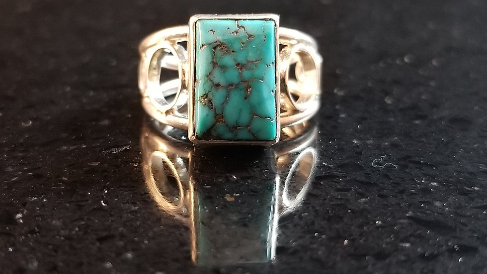 Turquoise Genuine Gemstone Sterling Silver Ring December Birthstone