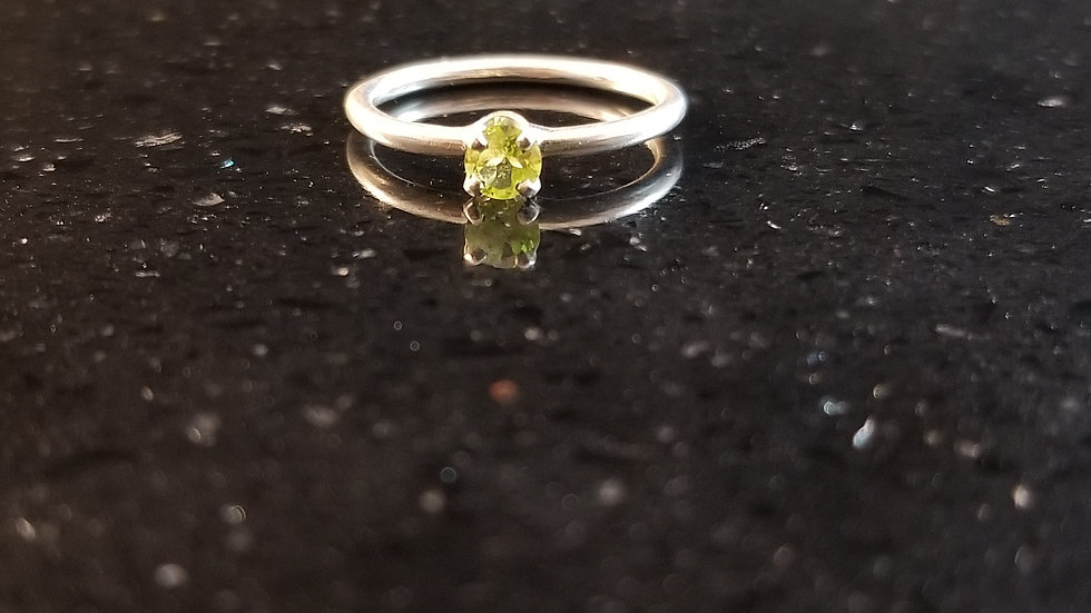 Peridot Sterling Silver Genuine Gemstone Ring August Birthstone Stacker