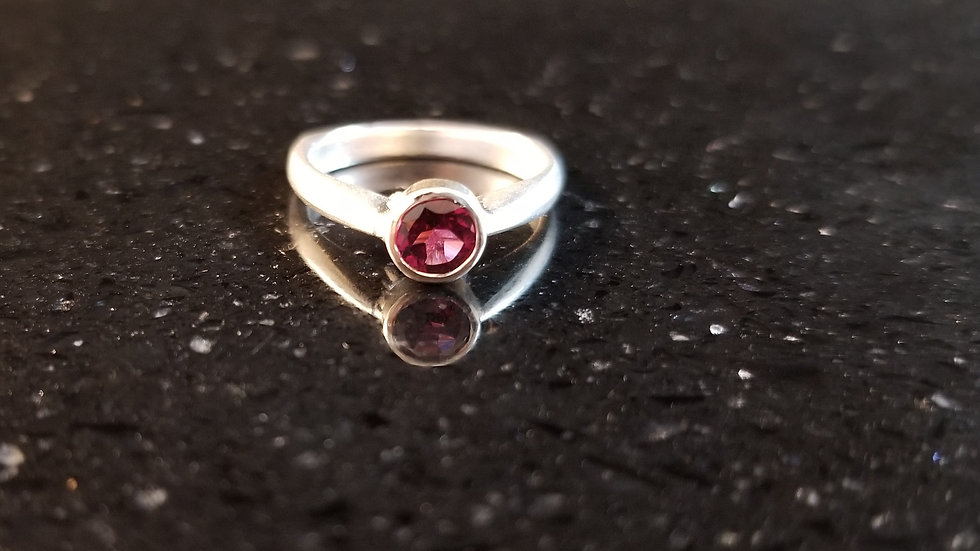 Grape Garnet Genuine Rhodolite Gemstone Sterling Silver Ring January Birthstone